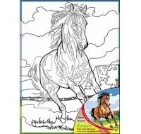 Холст с красками 30х40 см Лошадь